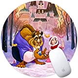 DISNEY COLLECTION Beauty and The Beast Playing in The Snow Square Round Computer Gaming Mouse Pad Skidproof High Mouse Tracking for Office, Gaming, Home