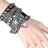 Huture Bracelet en Cuir Punk Bracelet Manchette avec Bracelet Jonc en Alliage avec Pompon Bracelet en Cuir de Style Rivet Bracelets Rglables Cadeau de la Saint-Valentin pour Hommes et Femmes, Noir