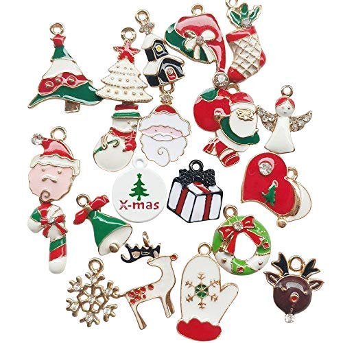 Chenkou Craft 20PCS all' ingrosso lotti mix in lega di Natale pendente charms Necklace Jewelry Findings Christmas Tree Bear calzino Jingle Bell Snowman Snowflake Claus Gift Box House Garland
