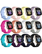 Getino Bands Compatible for Fitbit Sense & Versa 3, Flexible Waterproof and Durable Classic Silicone Sport Wristbands, Adjustable Replacement Straps for Women Men, Large Small 12 Pack
