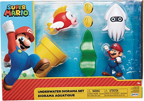 Nintendo Super Mario Unterwasser-Figur, Diorama-Spielset, 6,3 cm, beinhaltet: Mario, Cheep-Cheep, Bluter, mechanische Kettenpfeife, drehende Wasserpflanze und Zwei Münzen