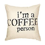 "Fjfz I Am a Coffee Person Motivational Inspirational Quote Cotton Linen Home Decorative Throw Pillow Case Cushion Cover with Words for Coffee Lover Sofa Couch, 18"" x 18"""