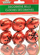 (Pack of 2) 9 Large Christmas House Aged Finish Snowflake Cutout Jingle Bells (Red)