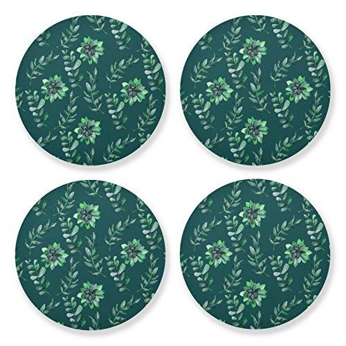 xigua 4 posavasos redondos para bebidas, resistentes al calor, con base de corcho, ligeros para mesa, tapete protector de mesa, para tazas, hojas y flores, color verde