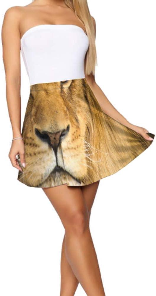 Girls Mini Skirt Beautiful Mighty Lion Casual Mini Skirt Women's Basic Casual Skater Skirts for Teen Girls S-XL