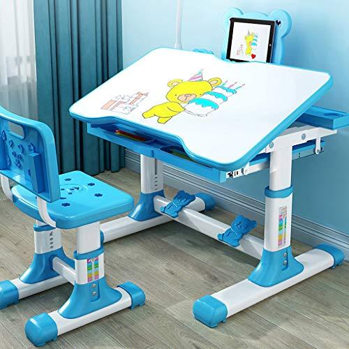cuiQQQohg Kombinierter Studientisch für Kinder Set Kunststoff-Arbeitstisch Studie zu Hause kann angehoben und abgesenkt Werden