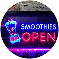 Smoothies Open Shop Dual Color LED看板 ネオンプレート サイン 標識 青色 + 赤色 600 x 400mm st6s64-i0264-br
