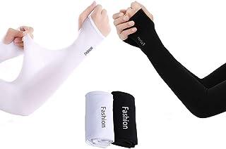 2ピース(黒+白)アイススリーブ、アイスシルク、クールで薄い日焼け止め手袋、男性用と女性用の長袖、ハンドソックス、腕の屋外運転