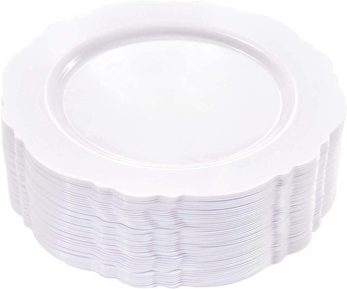 WDF 60pcs White Plastic Phoenix Max 48% OFF Mall Plates-90Pieces Silverwar Silver