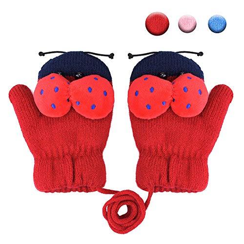 Kinder Winter Handschuhe Fäustlinge Baby Cartoon Fausthandschuh Halshandschuhe Dicke Doppelt Strickhandschuh mit Plüsch,0-3 Jahre alt, Spielen, Laufen, Skifahren Bedarf (Marienkäfer Weinrot)