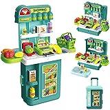 GRESAHOM Caja registradora de Juguete para niños, Caja con Ruedas 4 en 1, 43 Piezas de supermercado, con escáner, Caja registradora, básculas, Accesorios de Comida incluidos, para niños y niñas
