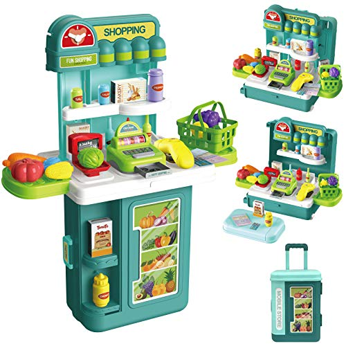 Cash Register Toy Till for Kids, 4 in1 Trolley Case 43PCS Pretend Play Supermarket, with Scanner Cash Register, Weighing Scales, Food Accessories Included, Role Play Shop for Ages 3+ Kids Boys Girls