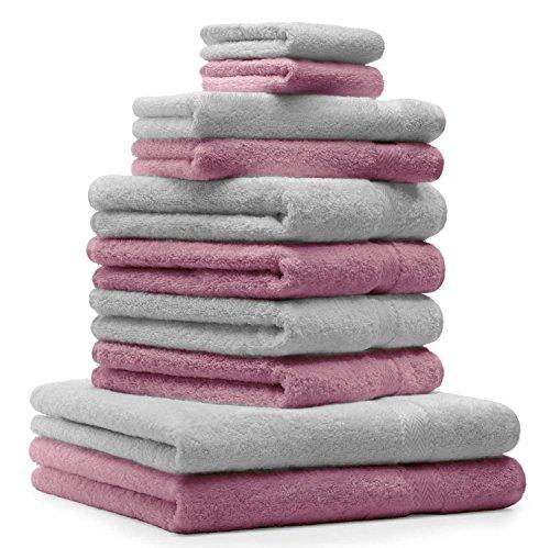 Betz Juego de 10 Toallas Premium 100% algodón 2 Toallas de baño 4 Toallas de Lavabo 4 Toallas de tocador 2 Manoplas de baño Color Gris Plata y Rosa