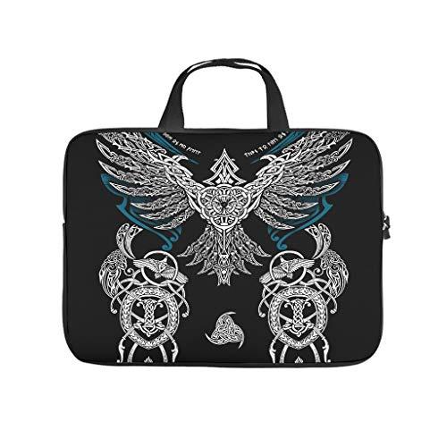 Lightweight Water-Repellent Ravens in Mythology Viking Laptop Case Sleeve Bag Carry On Handle Case - for Men Women Boys Girls white6 17 Zoll