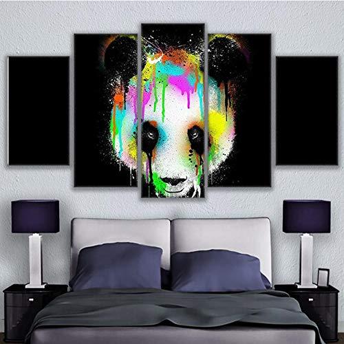 FFFZDCKAY Cuadro en Lienzo 5 Partes HD Impreso Pintura Cartel Lienzo Lindo Animal Panda imágenes Modernas para Sala de Estar Sin Marco
