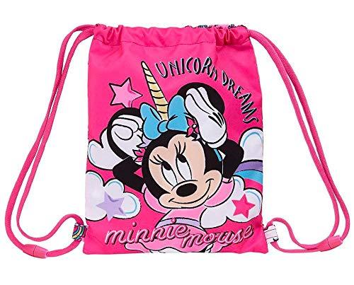 Disney Minnie Mouse und Einhorn Kordelzug, Kinder-Sporttasche, Badetasche, Tanztasche, Kosmetik-Waschtasche, Kinder Reise Oder Schultasche, Geschenk für Mädchen!