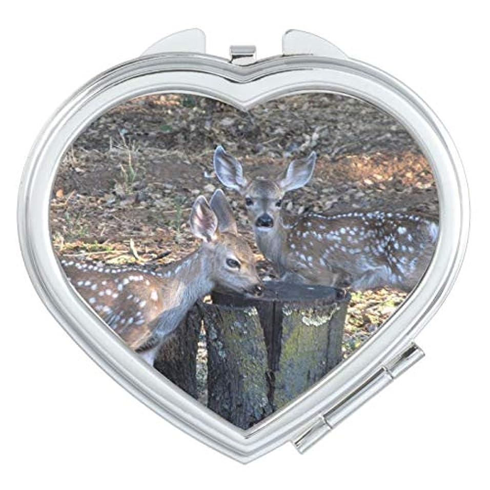 ある特徴アカウントRECASO 手鏡 鏡 かがみ ミラー 二面鏡 手のひらサイズ ミニ 小さめ 折りたたみ コンパクトミラー シルバー ハートミラー 愛らしい斑点を付けられた子鹿 ハート