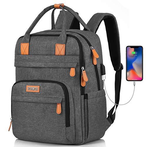 YIORMIOR Rucksack Damen, Schulrucksack Mädchen Teenager Laptop Rucksack mit USB, Tagesrucksack Uni Reisen Freizeit Job mit Laptopfach & Anti Diebstahl Tasche