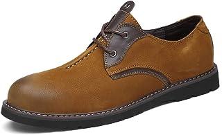 أحذية أوكسفورد الرجالية الرجالية الرجالية المقاومة للانزلاق من الجلد السويدي بأربطة وبجزء علوي منخفض مستدير عند الأصابع, ب...