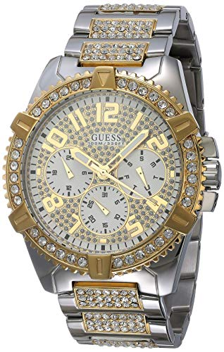 GUESS Stainless Steel + Gold-Tone Crystal Embellished Bracelet Watch with Day, Date + 24 Hour Military/Int'l Time. Color: Silver + Gold-Tone (Model: U0799G4)