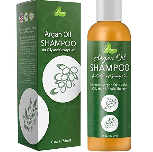 Argan Oil Shampoo for Oily Hair + Scalp - Sulfate Free Clarifying Shampoo for Greasy Hair - Volume Shampoo for Men + Women - Therapeutic Jojoba & Keratin for Strength - Salon Quality Natural Hair Care