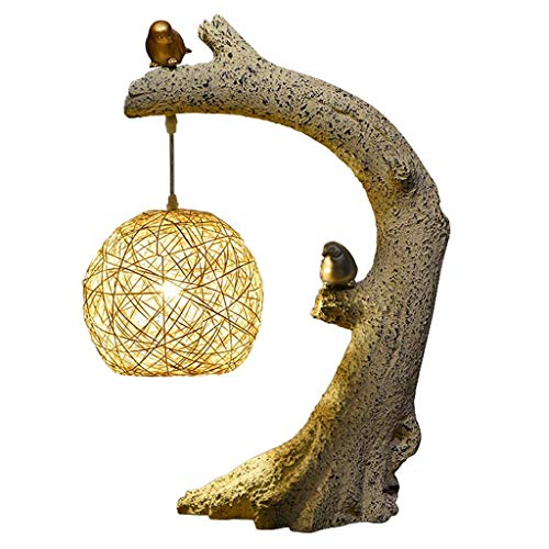 HTL Birds Homing Accent Lamp Natural Polyresin Perfect, Arm Tables, Bookshelf, Bed-Side, Fireplace Mantel, Cabin Cottage Style Homes Desk Lamps for Bedroom,B