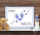 Herz Stempelbild für Baby Fußabdruck, personalisierbar, Geschenk zur Geburt Papier oder Leinwand
