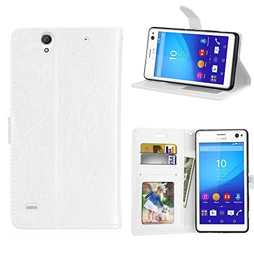 Fatcatparadise Kompatibel mit Sony Xperia C4 Hülle + Bildschirmschutz, Flip Wallet Hülle mit Kartenhalter & Magnetverschluss Halterung PU Leder Hülle handyhülle (Weiß)