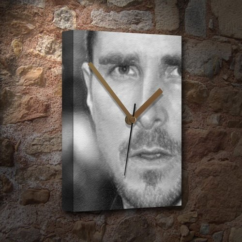 CHRISTIAN BALE - Canvas Clock (A5 - Signed by the Artist) #js001 by Canvas Clocks (A5) - Actors