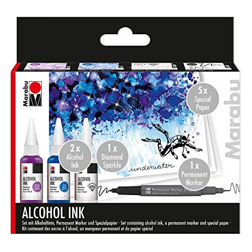 Marabu 1216000000100 - Alcohol Ink Set Underwater mit 3 x 20 ml Alkohol Tinte, 1 x Permanent Marker, Spezialpapier und Anleitung, Alkoholtinte für Fluid Art, Resin Art und Epoxidharz Farbe