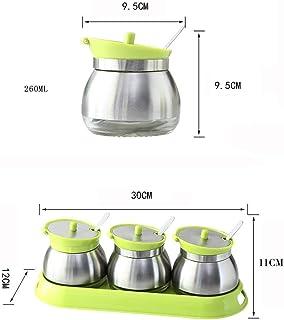 Pots à épices,Ensemble de Bouteilles de Condiments pour Pot d'épices en Acier Inoxydable Bidons de sel de Cuisine Petit et...