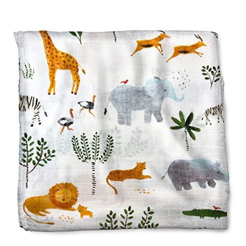 Diamer UK® muslin baby blanket - 47'x47' Large muslin swaddle blanket...