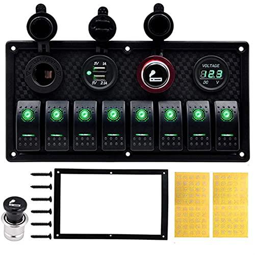 LiCHANGZHU LCBIAO 5 Pin Marine Boat RV Ignición Toggle Rocker Switch Panel 12-24V LED Voltímetro Dual USB Cargador Adaptador Encendedor de Cigarrillos (Color : Green 8 Gang Switch)