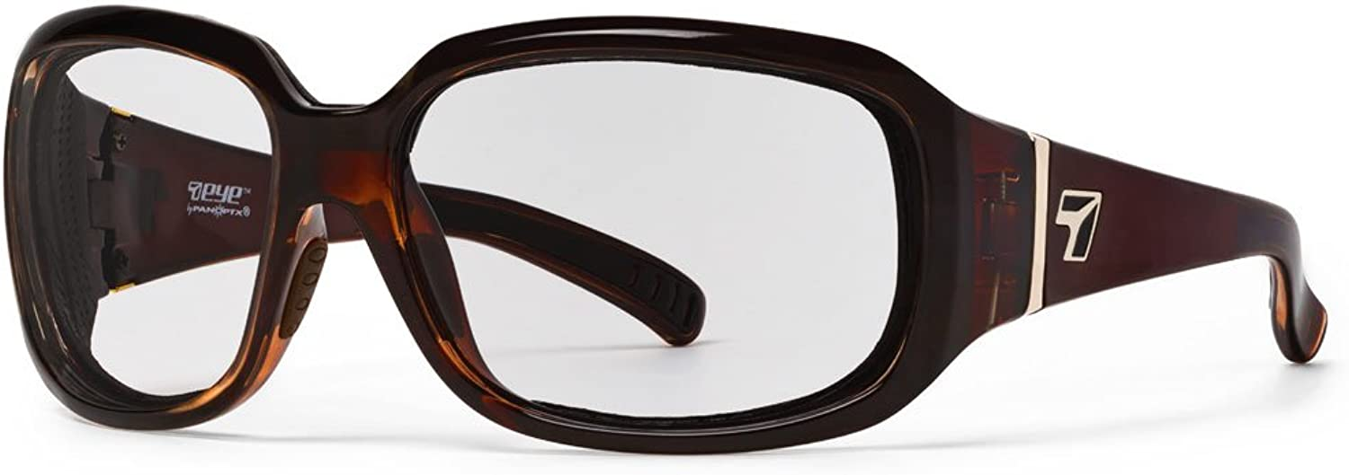 7eye by Panoptx Mistral Frame Sunglasses with Clear Lens, Crystal Chocolate, Small Large