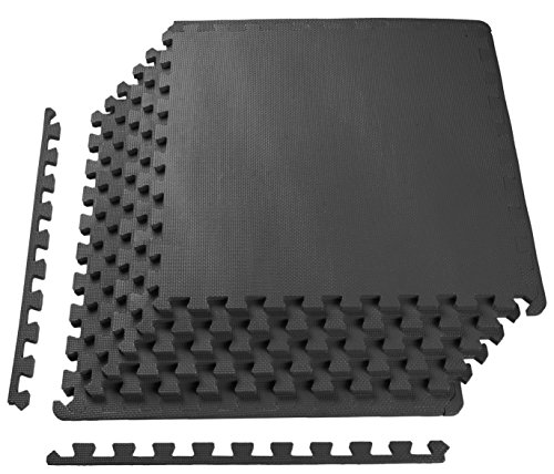 """Balance From Puzzle Exercise Mat with EVA Foam Interlocking Tiles, Black, 1/2"""" Thick, 24 Square Feet"""