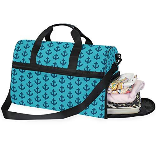 Buyxbn Seesack mit Schuhfach, extragroß, für Wochenendausflüge, Reisen, Training, Reisen, Unisex, 35-40 l, Blau