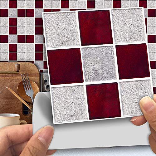 Hiser 25 Piezas Mármol Adhesivos Decorativos Azulejos Pegatinas para Baldosas del Baño/Cocina Estilo Mosaico Mármol - Clásico Resistente al Agua Pegatina de Pared (Vidrio Rojo,15 x 15 cm)