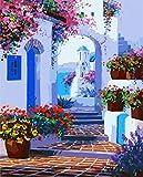 Cuadro al óleo por números de calle en Grecia, pintado a mano, digital, paisajismo, para salón, 40 x 50 cm (sin marco)
