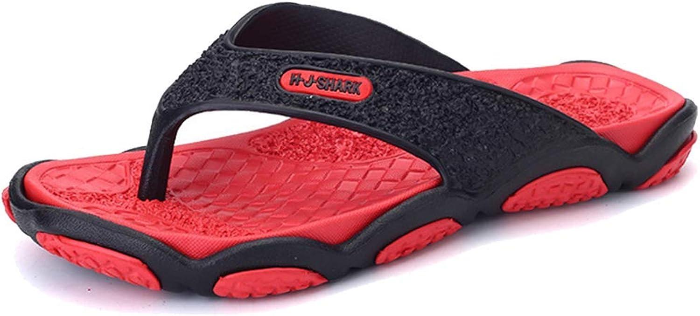 L-X Men's Rubber Sandal Slipper Comfortable Shower Beach shoes Flip Flop Fashion Leisure Massage Bathroom Flips, red, 40EU