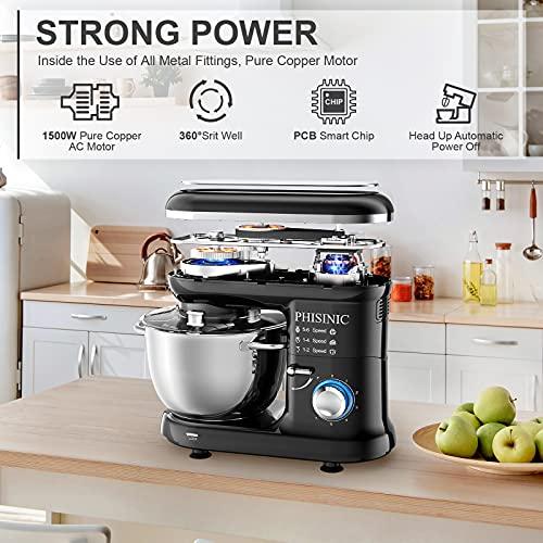 PHISINIC Küchenmaschine Knetmaschine 1500W Teigmaschine Rührmaschine mit 5,5 L Edelstahl Schüssel Geräuscharme Teigknetmaschine inkl 3-Teiligem Patisserie-Set und Spritzschutz-Schwarz - 5