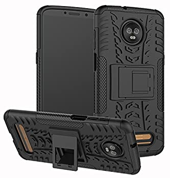 Moto Z3 Case Moto Z3 Play Case Yiakeng Dual Layer Shockproof Wallet Slim Protective with Kickstand Hard Phone Case Cover for Motorola Moto Z3  Black