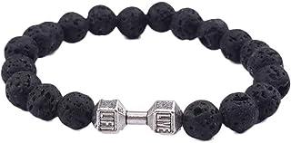 WoCoo Natural Stone Lava Rock Diffuser Bracelet Elastic Yoga Agate Beads Bracelet Bangle for Men Women(C)