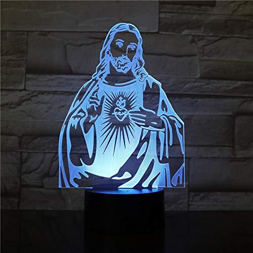 Jesus Abbildung 7 Farben ändern Nacht Lampe 3D LED Tischleuchte für Schlafzimmer Schlaflampe Home Decor Art Decor Dropshipping 3232 @ With_A_Controller_7_Colors