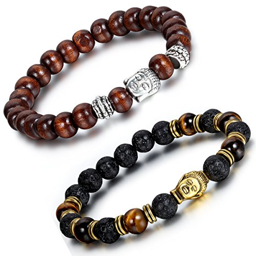 Aroncent 2PCS Herren Damen Lava Armband, 8mm Breite Tibetische Silber Gold Buddha-Kopf Gebet Mala Kugel Perle Energietherapie Armreif Armschmuck, Holz Metalllegierung, Braun Schwarz