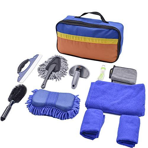 Acelane 11PCS Kits de Limpieza para Coche Brochas para Detallar con Cepillo para Llantas, Esponjas, Mitones de Lavado,Toallas de Limpieza para Camiones, Motocicleta, Autos Interior, Exterior