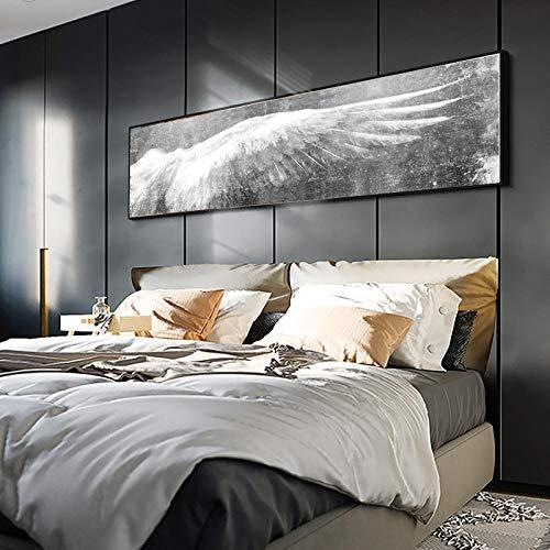 Cqzk Größere Engelsflügel Vintage Feder Poster Drucken Schwarz Weiß Wandkunst Leinwand Gemälde Flügel Pop Art Wandbild Für Wohnzimmer 60x180 cm Ungerahmt