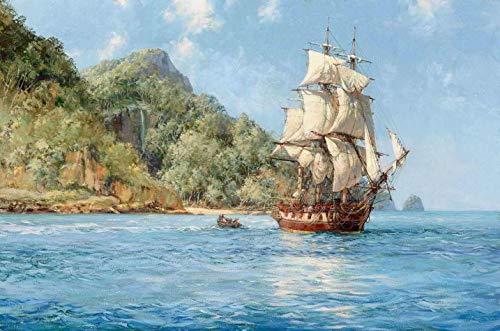 Ilha do Tesouro de Montague Dawson - 75x113 - Tela Canvas Para Quadro