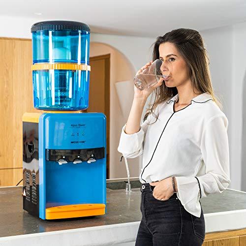 ECODE Dispensador de Agua Aqua Tower Plus, Depósito Interno Agua Fría, Natural y Caliente ECO-3190