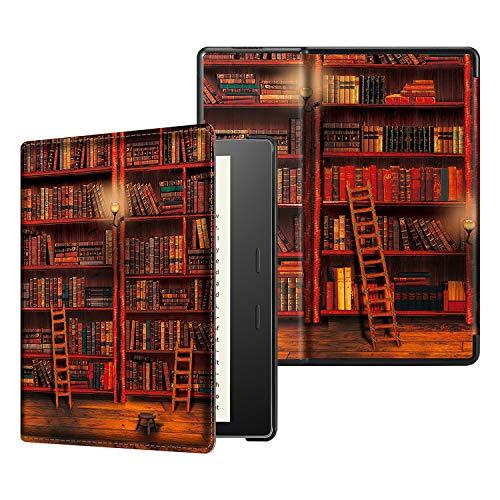 CASEBOT Hülle kompatibel für Kindle Oasis 10. Generation (2019 Modell) und 9. Generation (2017 Modell) - Slim Lightweight Schutzhülle mit Auto Sleep/Wake Funktion, die Bibliothek