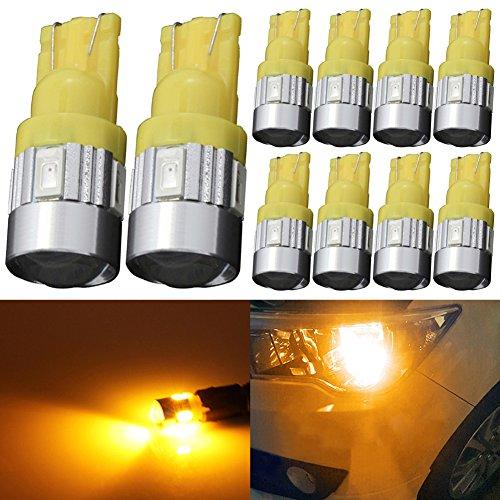 TABEN 194 Ampoules LED Ambre 5730 Chipsets Lentille de Projecteur T10 W5W 168 2825 Ampoules LED Lumière de Remplacement Carte Dôme Carte de Courtoisie Porte Plaque d'Immatriculation Ampoules